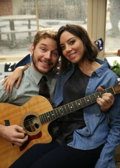 Chris Pratt and Aubrey Plaza as Andy Dwyer and April Ludgate   Parks and Recreation