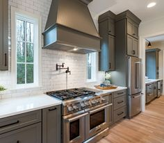 Grey Kitchen with white subway tile and white quartz countertop Grey Kitchen with white subway tile and white quartz countertop ideas #GreyKitchen