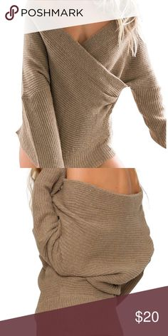 b80a4049a5faf Sexy shoulder off tan sweater with V neck Purchased online haven t wore it  once