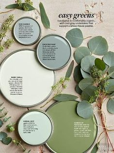 Step to the comforting, cool side of green with these organic hues. Their gray undertones are prime to support a colorful whole-house palette. Get an iPad subscription and try out different wall colors./ by lihoffmann