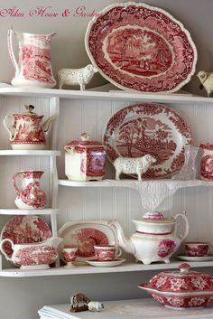 Aiken House & Gardens: Red & White Transferware Display by oldrose Antique Dishes, Vintage Dishes, Vintage China, Red And Pink, Red And White, Dish Display, Red Cottage, White Dishes, Red Kitchen