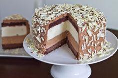 Tuxedo cheesecake - white chocolate mascarpone, chocolate fudge cake and chocolate swiss buttercream.