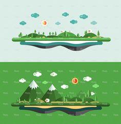Modern flat design conceptual landscape illustration stock vector art 73354541 - iStock
