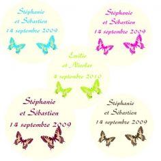 etiquettes drages autocollante papillon personnalises mariage x30 - Etiquette Autocollante Personnalise Mariage
