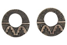 Tufa Cast Silver Navajo Textured Earrings by Ruby + George on @One Kings Lane