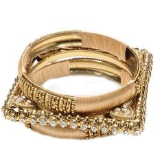 3 piece two-tone bangle set.