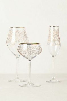 From everyday ware to one step above fancy, your celebration will be a visually memorable get together, with home accents complimenting your unique style. Etched stemware at Anthropologie