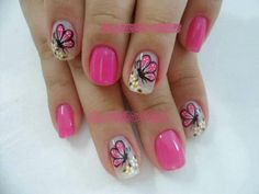 Uñas mariposa Fancy Nails, Cute Nails, Pretty Nails, Cute Pedicure Designs, Nail Art Designs, Cute Spring Nails, Summer Nails, Hair And Nails, My Nails