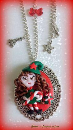 Idea regalo Natale Collana fimo folletto natalizio, by Chiara - Creazioni in fimo, 12,00 € su misshobby.com
