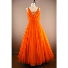 Glorious bright orange ball gown size medium Miss Elliette sheer... ($21) ❤ liked on Polyvore featuring dresses, gowns, long sequin gown, sexy long dresses, sexy dresses, vintage ball gowns and long gown