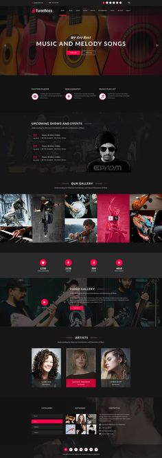TuneBoss is a clean, modern and perfect musical, discography, portfolio, modern PSD template specially designed for musical website. We designed our template with love and high quality for develope... #webdesign #uidesign #psd