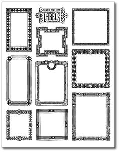Free vintage framed printable labels