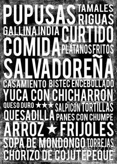 El Salvador Food Poster  Black  20 x 30 by MartaDarbyDesigns