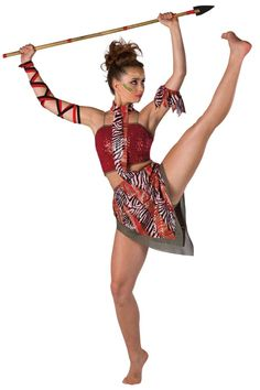 Style# 17407 JUNGLE WARRIOR  Red sequin on spandex and solid spandex crop top with adjustable nude elastic straps. Separate clear sequined printed spandex and olive glitter mesh skirt with built-in olive spandex shorts. Attached matching overlay with neckband. Olive spandex binding trim. Arm band and binding for arm ties included. SC-XXLA