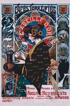 """""""Cafes Torrefies"""" by Art Nouveau artist Henri Privat-Livemont Art Nouveau Mucha, Alphonse Mucha Art, Art Nouveau Poster, Art Vintage, Vintage Posters, Framed Art Prints, Poster Prints, Art Posters, Illustrator"""