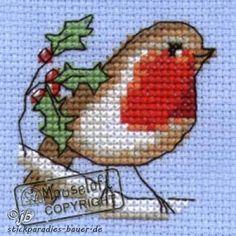 Cross Stitch Kits Stitchlets Christmas Card Cross Stitch Kit - Robin - Giggle Factory - Christmas cross stitch kit contains: aida fabric Zweigart), threads (DMC), needle, card Cross Stitch Christmas Cards, Xmas Cross Stitch, Cross Stitch Cards, Beaded Cross Stitch, Cross Stitch Animals, Counted Cross Stitch Kits, Christmas Cross, Cross Stitch Embroidery, Embroidery Patterns