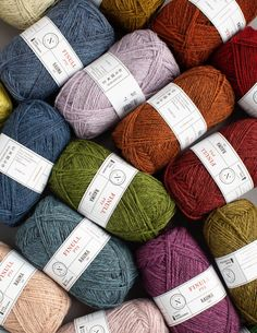 Norwegian Wool from Rauma in an incredible range of, mainly, solid colours. Fair Isle Knitting, Knitting Yarn, Hand Knitting, Anna Wright, Uncommon Threads, Shade Card, Learn How To Knit, Pattern Library, Finger Weights