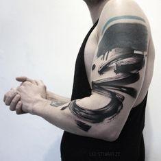 Tattoo artist Lee Stewart blackwork abstract tattoo in auhors brushstroke style | London