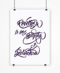 Poster romántico tipografía impresa Revoltosa la por LetteringShop