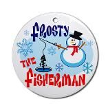 Frosty the Fisherman Ornament (Round) for $12.50