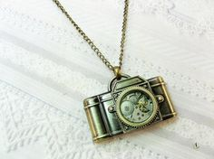 Camera Necklace  Steampunk Camera  Jewelry by by birdzNbeez, $24.00
