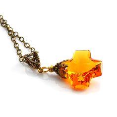 Amber Crystal Necklace Swarovski Cross Topaz by JewelryByMagda, $31.00