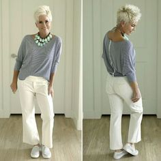 style for older women Short crop haircut for older woman Writing The Perfect Wedding Speech Or Weddi Work Outfits Women Over 50, Fall Fashion For Women Over 60, Fashion Over 40, 50 Fashion, Look Fashion, Autumn Fashion, Clothes For Women, Fashion Outfits, Fashion Ideas