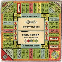 Monopoly Is Theft ~ History of the world's most popular board game, plus reportage from a tournament. Started life as a public-domain game called The Landlord's Game, 30 years before Charles Darrow copyrighted it, sold it to Parker Bros, and got rich.