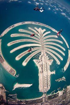 Skydiven boven Dubai