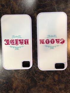 Aren't these Bride and Groom phone cases adorable!! They make great gifts and are such a fun keepsake for the couple! Available for Samsung Galaxy, iphone 4/4s/5/5s! #brideandgroom #phonecases #ElegantOccasions #wedding