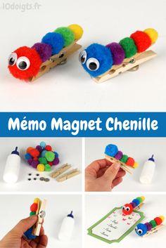 Pour fabriquer un Mémo magnet chenille c'est facile : coller quelques pompons colorés sur une pince à linge, coller 2 yeux mobiles sur le premier pompon puis coller un aimant au dos de la pince à linge :) #DIY #Bricolage #Activité #Enfants #Pinceàlinge #Chenille #Magnet  #Mémo
