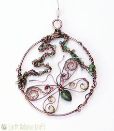Woodland Butterfly Sun Catcher - Agate, Jasper, Honey Quartz, Aventurine, Glass and Patina Copper Wire Insect Designs for the Home and Garden.