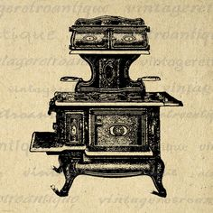 Printable Graphic Antique Stove Illustration Digital Kitchen