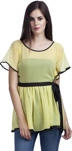 PrettyPataka Party, Casual Short Sleeve Solid Women's Yellow Top