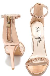 """Like all the famous star-crossed lovers before you, destiny has brought you and the Braid for Each Other Rose Gold Ankle Strap Heels together! A braided vegan leather toe strap accents these sexy single sole heels with a matching ankle strap (and a bit of elastic). 3"""" heel zipper with gold pull."""