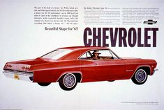 About Old Chevy Ads: 1965 Chevrolet Announcement Pages-Impala, Chevelle, Chevy II, and Corvair 1965 Chevy Impala, Chevrolet Impala, Ad Car, 1955 Chevrolet, Car Advertising, Old Ads, Retro Cars, Vintage Ads, Vintage Photos