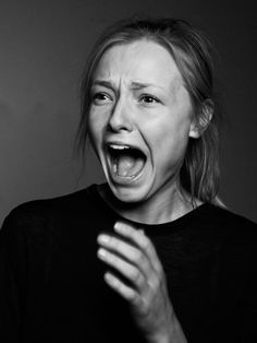 """That had not been a healthy sounding scream."" Expression, hand, fear, powerful, intense, portrait, photo b/w."