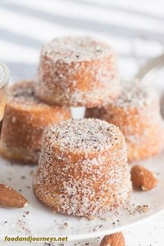 Swedish Almond Cardamom Mini Cakes Try it for your next coffee break dessert or even breakfast Trust me one piece would not be enough Swedish Recipe Dessert Snack S. Beaux Desserts, Mini Desserts, Just Desserts, Mini Cake Recipes, Spanish Desserts, Small Desserts, Sponge Cake Recipes, Delicious Cake Recipes, French Desserts