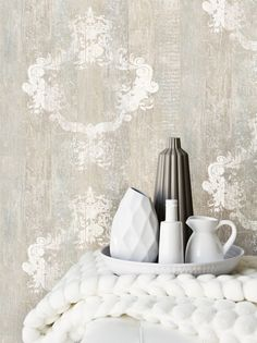 Serenity Sand Faux Wood Damask Overlay Wallpaper From Wallpaper Republic. Dining Room Wallpaper, Wood Wallpaper, White Wallpaper, Wallpaper Patterns, Wallpaper Ideas, Wallpaper Toronto, Shabby Chic Tapete, Ornament Tapete, Faux Wood Wall