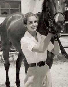 Carolina Herrera with her horse Balaclava, Caracas, 1955.