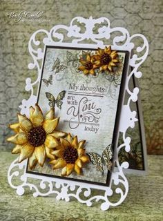 Card made using Spellbinders Reflective moments die and Heartfelt Creations Sunflower papers, stamps and dies. Tutorial on how to make Sunflowers too. by trisha