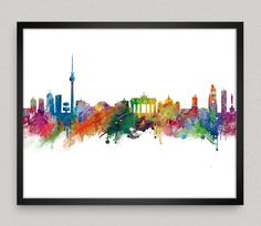 Berlin Skyline, Berlin Poster, Berlin Watercolor Print, Berlin Cityscape, Germany, Wall art, Home decor by artsaren on Etsy