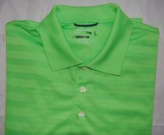 e010252c5 Chaps Golf Stay Dri Mens sz L Large Polo Shirt Lime Green Collared Striped   ChapsGolf