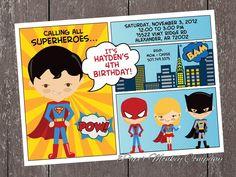 Comic Superhero Birthday Invitations with FREE Matching Return Address Labels. $1.00, via Etsy.