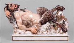 Meissen Painted and Parcel Gilt Porcelain Figure of a Satyr : Lot 126-2118 #meissen #porcelain #german #satyr #gilt