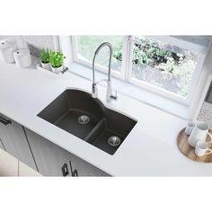 Elkay Quartz Classic x x Offset Double Bowl Undermount Sink with Aqua Divide, Black Shale Double Bowl Kitchen Sink, Kitchen Sinks, Kitchen Remodel, Quartz Sink, Composite Sinks, Undermount Sink, Kitchen Sink Ideas Undermount, Drop, Black Kitchens