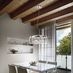 Stylish transparent pendant light available Audi, Led Röhren, Swag Light, Sweet Home, Color Rendering Index, Color Temperature, Shape Coding, Fabric Shades, Kitchen Lighting