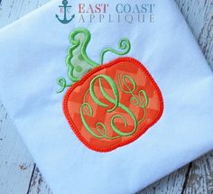 PUMPKIN machine embroidery design by EastCoastApplique on Etsy, $2.00