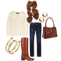 for hannah: fisherman sweater, jeans, boots