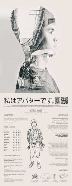 RPG-Character-Sheet-Inspired Curriculum Vitae by 私はアバターです。 iamthe_avatar, via Behance
